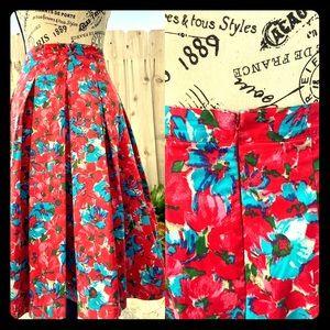 Talbots Superbloom Pleated Midi Skirt